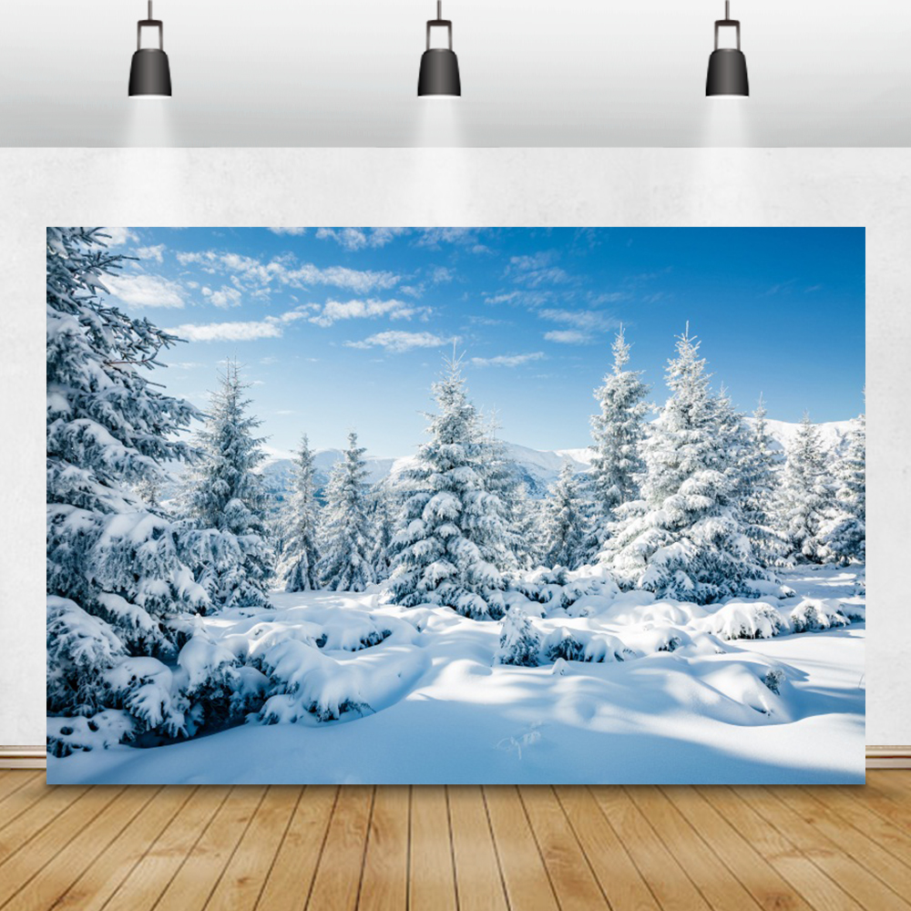 Dreamy Winter Photophone Forest Pine Trees Snow Mountains Interior Home Decro Photography Backdrop Photo Backgrounds Photozone