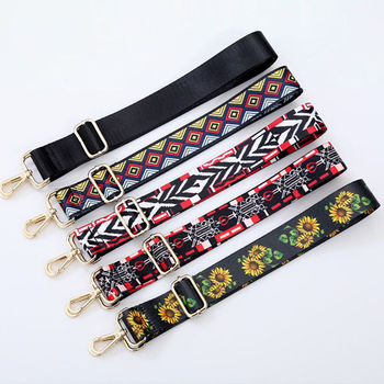 New Luxury Design Shoulder Straps Fashion Ethnic Style Women Bag Accessories Sunflower Crossbody Double Size Adjustable Belts ethnic style women s crossbody bag with hollow out and color matching design