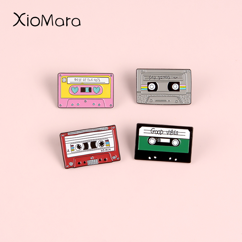 Take A Sad Song And Make It Better  80'S Retro Magnetic Tape Enamel Pin Badge Brooches lapel Pins For Old-School music lovers image