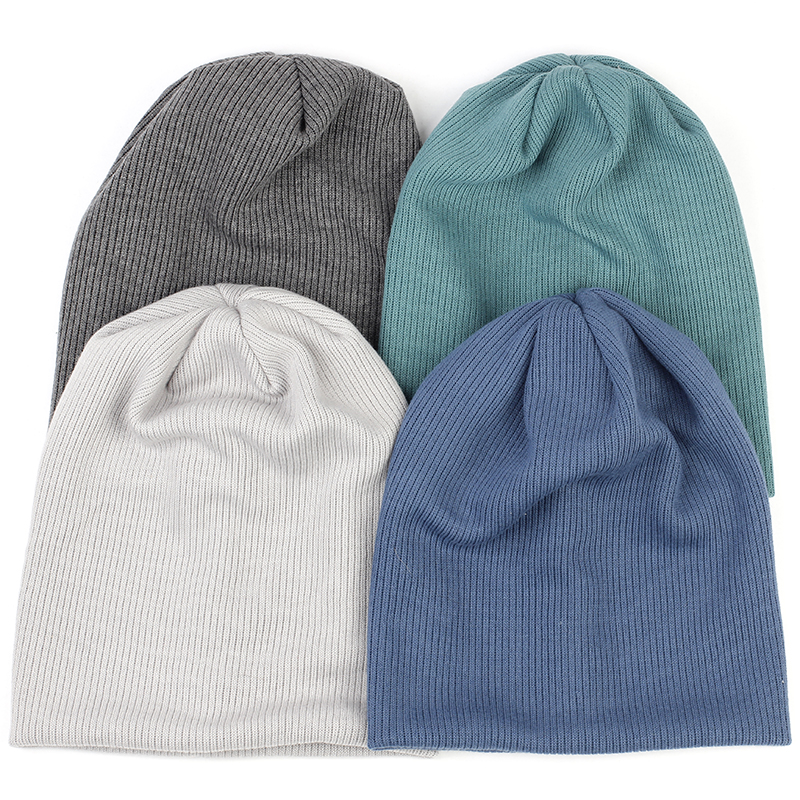 Charm Wood Fashion Spring Winter Autumn Solid Color Ribbed Beanie Hat Cotton Skull Caps For Adults Woman Man Beanies Warm