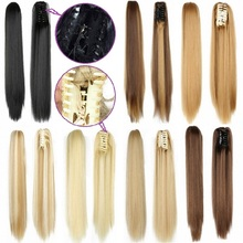 Claw Ponytail Extensions Long Straight Synthetic Fake Hair Piece Pony Tail Hairpieces Heat Resistant for Women Black Brown Blond