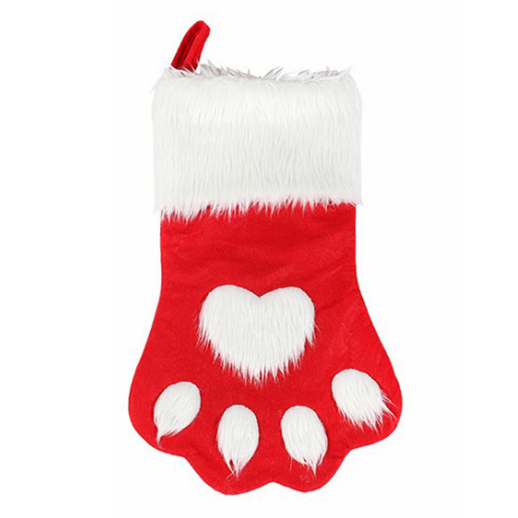 Christmas Stockings For Dogs.Us 2 35 27 Off Red Gray Long Hair Dog Claw Socks Christmas Stockings Christmas Tree Decorations Children S Gift Bags On Aliexpress 11 11 Double