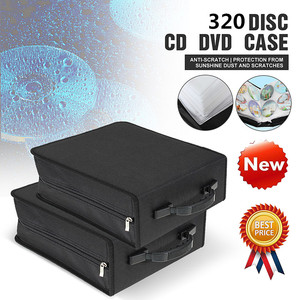 LEORY 320 Pcs CD DVD Dics Media Storage Cover Portable Carry Sleeve Hard Bag Case Wallet Holder Box w/Zipper Universal Sleeves