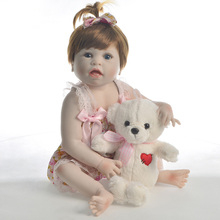 где купить 57CM Baby Reborn Doll 23 Inch Full Silicone Reborn Baby Girl Dolls Realistic Boneca Cute Baby Doll Toys For Kids  Playmates дешево