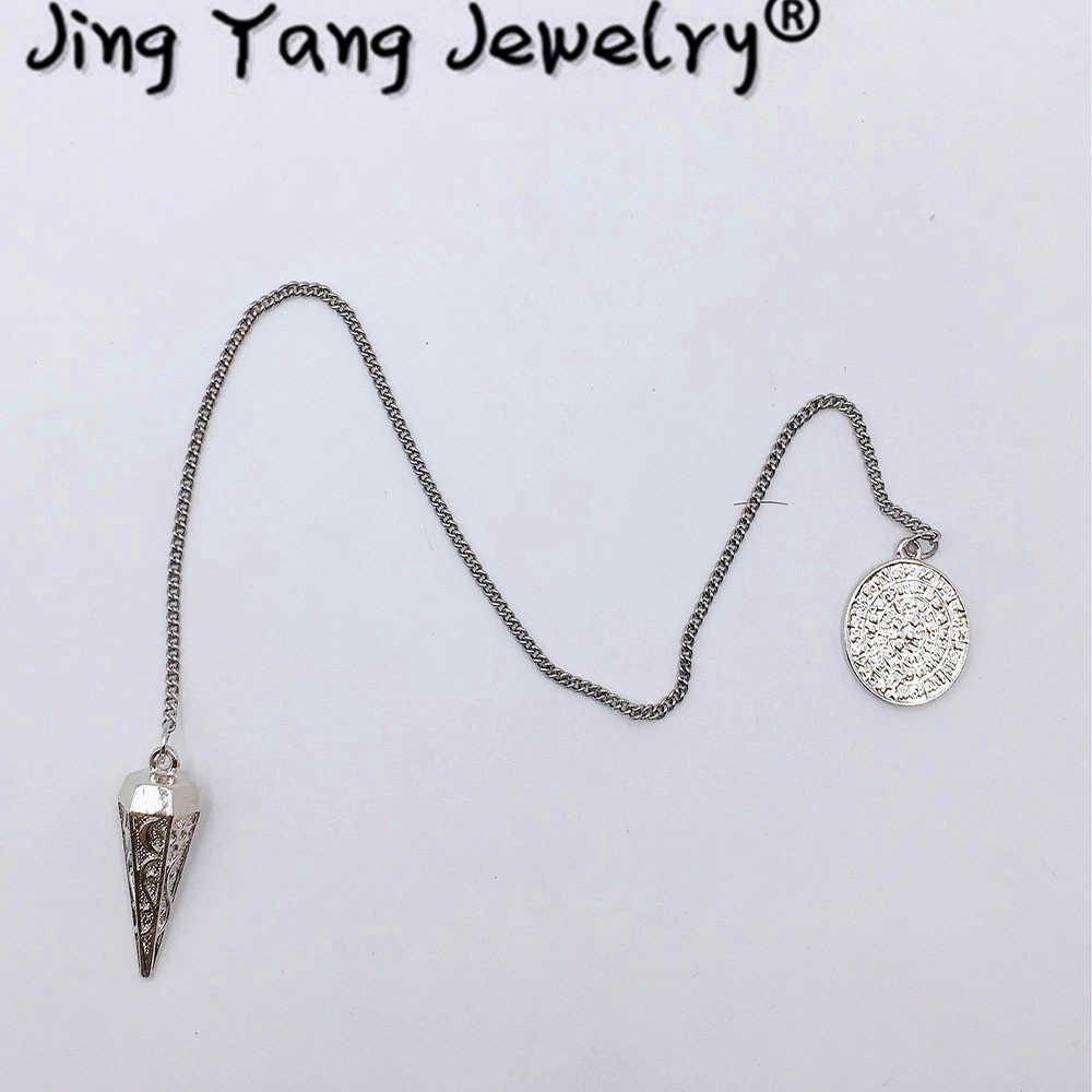 Wahadło Reiki Metal miedź Dowsing Healing Pyramid zawieszki charms Chakra kłodo chromowane złoto Amulet pendulos para radiestesia