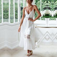 Vestidos calados para mujer, Vestido informal elegante Kobieta Sukienka con cuello en V y tirantes de encaje Blanco para fiesta y playa, 2021