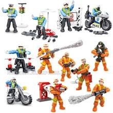 Super City Traffic Police Fireman Action Figures Mega BlockS Policeman Motorcycle Building Bricks Toys For Boys Gfts