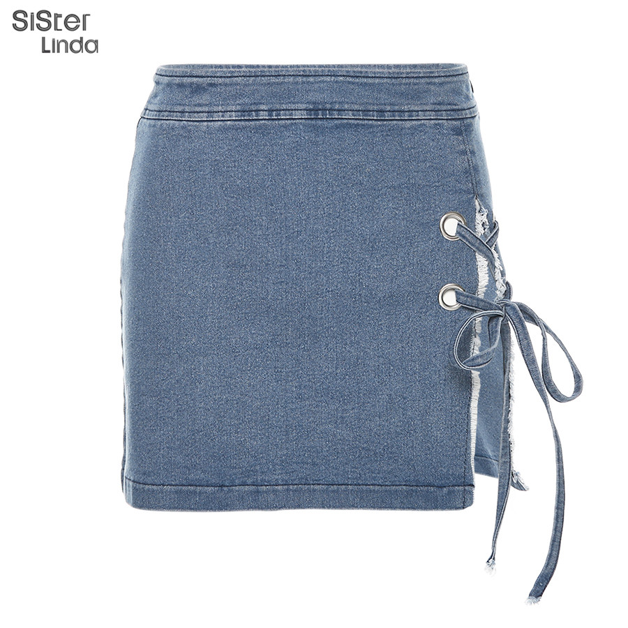 Sexy Split Lace Up High Quality Leather Skirts Womens 2019 New Autumn High Waist Bodycon Female Jeans Mini Skirt Casual Mujer