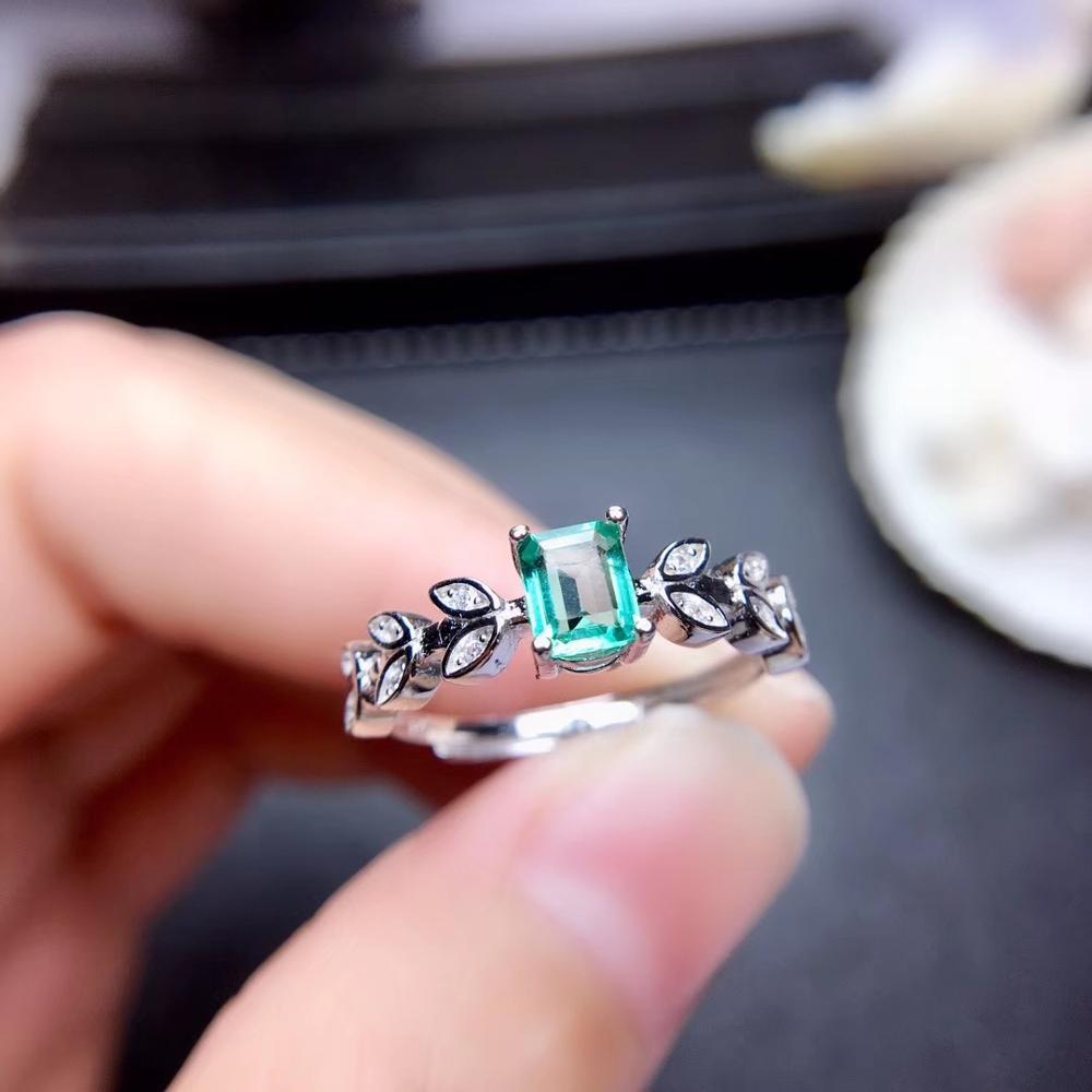 Feuille forme émeraude pierre gemme anneau pour femmes bijoux 100% naturel gemme 925 en argent sterling ornement fête t anniversaire cadeau vert - 2