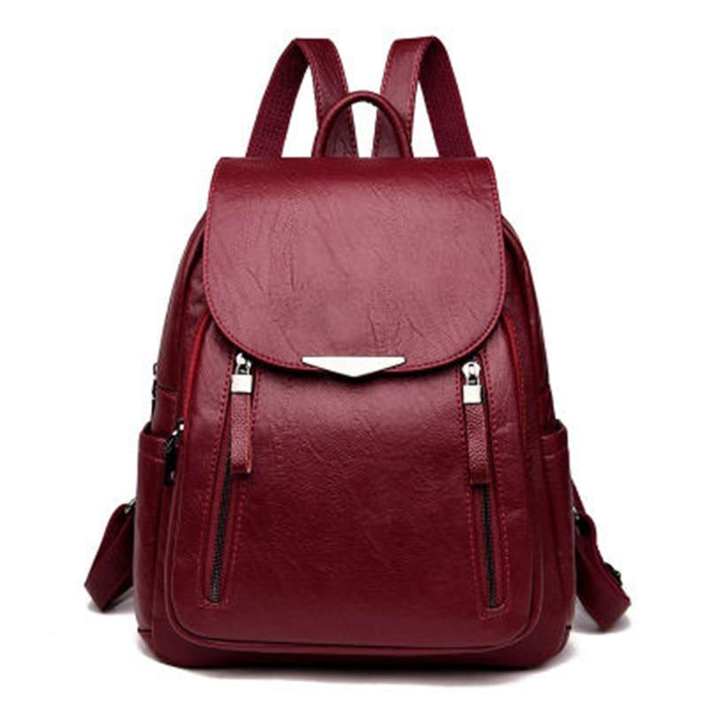 Women Backpack PU Female Backpacks Vintage Leather School Bags Large Capacity School Bag For Girls Double Zipper Shoulder Bags