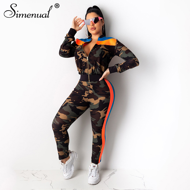 Simenual Casual Sporty Active Wear Two Piece Set Women Camouflage Fashion 2019 Tracksuits Long Sleeve Zipper Top And Pants Sets