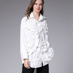 LANMREM 2020 New Spring Solid Color Single Breasted Lace Shirt Women Vintage Loose Big Size Office Lady Cotton Blouses PD558
