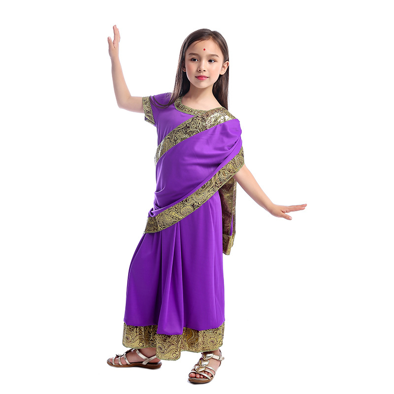 JEMMALEONG Bollywood <font><b>Indian</b></font> Girl Princess Cosplay Purple <font><b>Sari</b></font> Haloween Carnival Costume For <font><b>Kids</b></font> <font><b>Indian</b></font> Belly Dance Dress image