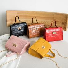 Crocodile Pattern Soft Leather Crossbody Bag for Women Stone