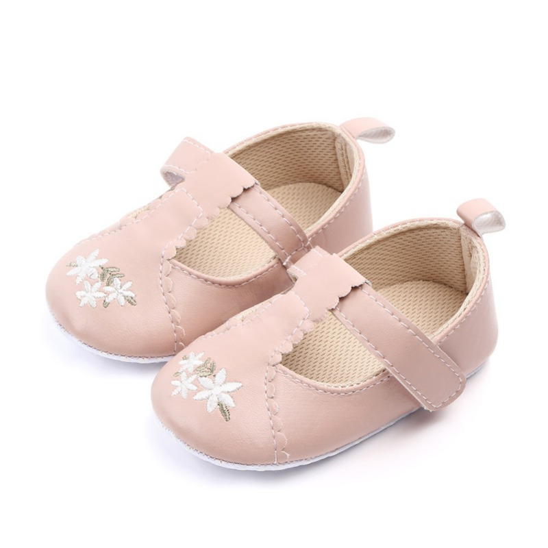 Smartbabyme Shoes Baby Girls Spring Autumn Newborn First Walkers Shoes Infant Flower PU Leather Shoes Soft Sole Crib Shoes 0-18M