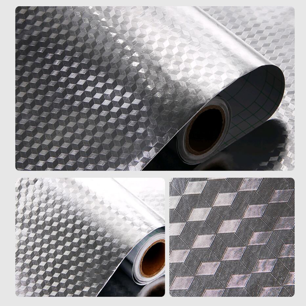 Sunice Cubic Grid Anti-oil Film Kitchen Hood Wall Sticker Kitchenware Furniture Protective Self-adhesive Film 0.4x15m