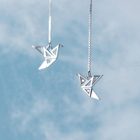 MloveAcc 925 пробы серебряные ювелирные изделия бумага оригами кран висячие серьги линия для женщин девочек модные ювелирные изделия подарок