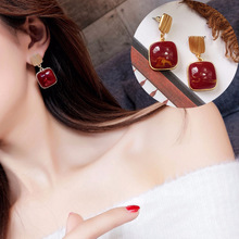 square exquisite earrings simple personality retro  luxury red green bohemian
