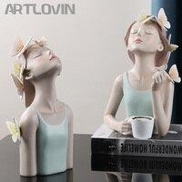 Figuras de fada borboleta artlovin, estátuas de resina para mesa com personagens criativos de metal bandeja dourada decoração de casa artesanato