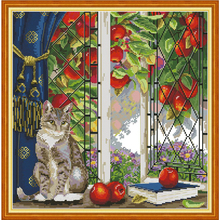 Joy Sunday,cat,cross stitch embroidery kit,Cartoon cross pattern,cross needlework,Animal pattern kit