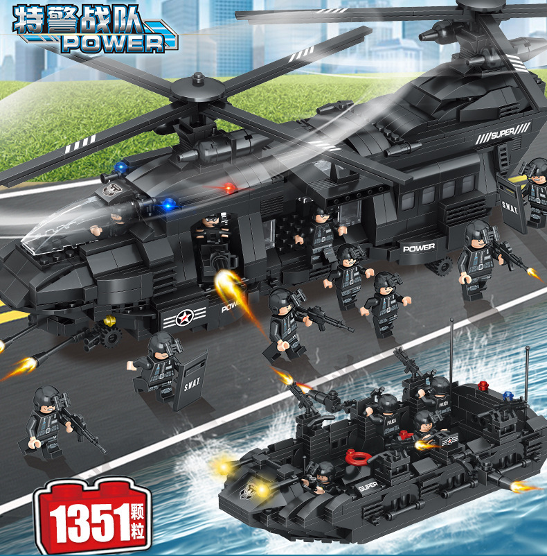 City Mini Figures SWAT Police Medium Transport Helicopter Boat Building Block Brick Toys For Children Boy Compatible Lepinlyed