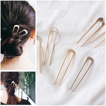 Hot Japan Simple U shape Hair Clips for Women Girls Shell Metal Gold Color Hair Clip Fashion Jewelry Hair Accessories europe trendy hair clips for women starfish shell shape 2 color metal sticks pearl hairpins jewelry gift for girlfriend yha007