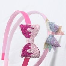 2PC dziewczyny Trendy Glitter Hairbands nowe dzieci krok zęby opaski dzieci Cheer kształt łuki włosy/opaska na głowę akcesoria do włosów