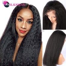 Silkswan yaki em linha reta perucas completas do laço perucas de cabelo humano 10-32 Polegada cabelo remy brasileiro preplucked 180% kinky peruca reta para mulher