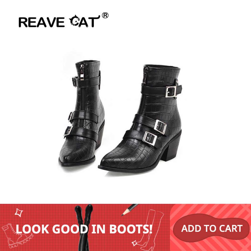 REAVE kedi kadın kovboy yarım çizmeler kürk sivri burun kare kalın topuk Faux deri ön fermuar toka büyük boy 33- 48 parti rahat