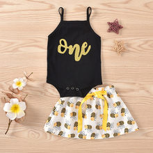 2020 Cute Infant Newborn Baby Girls Jumpsuits Sleeve Tulle Skirt Tops Bee Skirt Summer Princess Skirt Romper Set Outfits 2pcs(China)