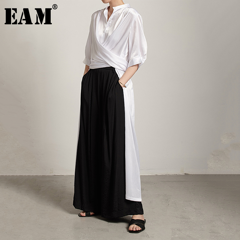 [EAM] Women White Button Bandage Big Size Blouse New Stand Collar Long Sleeve Loose Fit Shirt Fashion Spring Autumn 2020 JU814