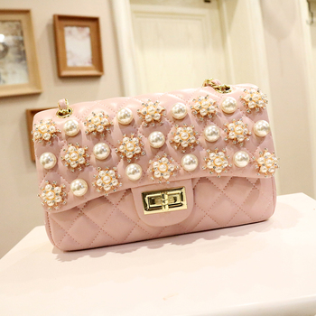 Pearl Diamond Lattice Checkered Generous Bag Women's Bag 2020 Spring New Chain Shoulder Messenger Bag Fashion Wild Women Handbag