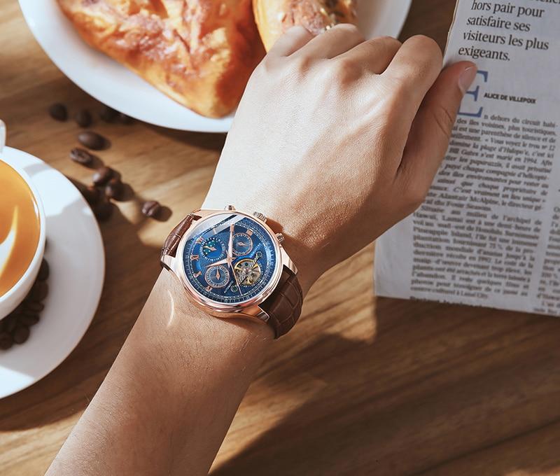 H8c4cf6fe53e645898d4ac208b188acfbU Skeleton Tourbillon Mechanical Watch Men Automatic Classic Rose Gold Leather Mechanical Wrist Watches Reloj Hombre 2018 Luxury