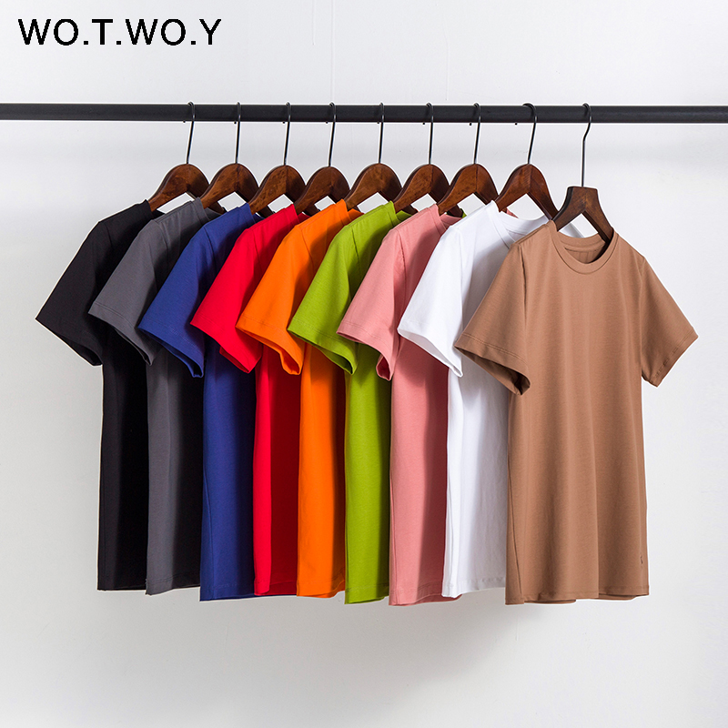WOTWOY 2020 New High Quality 9 Colors T-shirts Women Plus Size Casual Cotton O-Neck Tee Shirts Female Black Loose Tops Harajuku