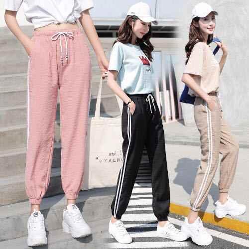 2018 สไตล์ใหม่กางเกงกีฬาผู้หญิงฤดูร้อนข้อเท้ายาวสีดำนักเรียนหลวมสไตล์เกาหลีสไตล์อเนกประสงค์ to Fight a Lot
