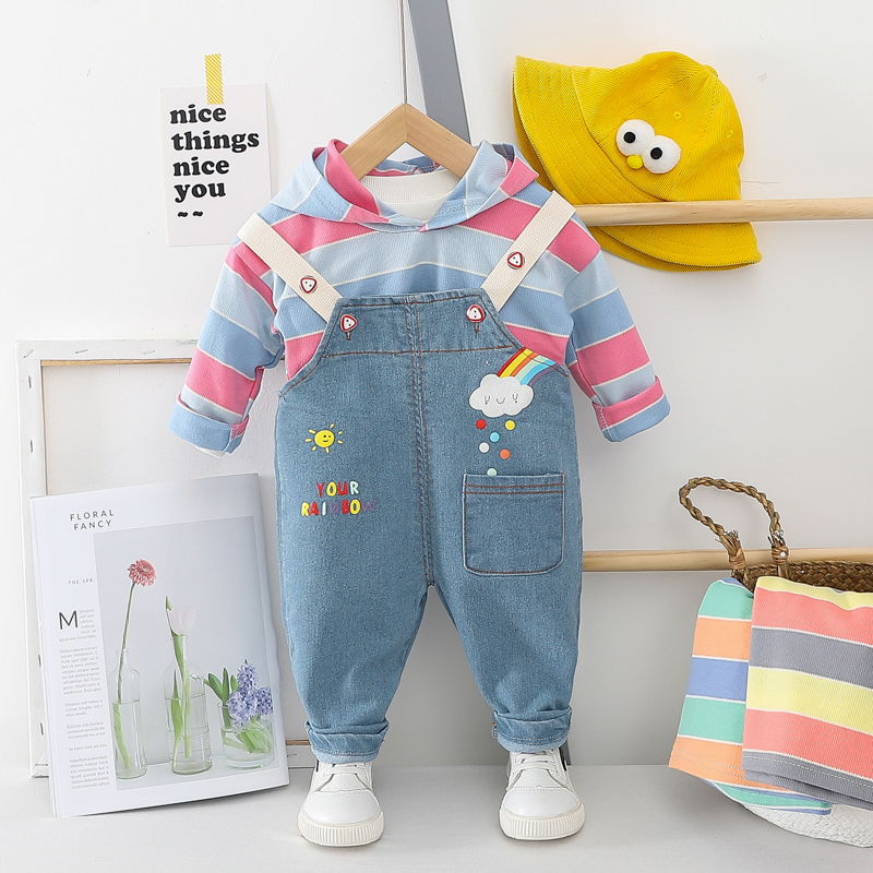 HYLKIDHUOSE 2020 Spring Baby Girls Boys Clothing Sets Hooded Tops Bib Jeans Cartoon Toddler Infant Clothes Children Costume
