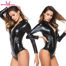 Women Black Bodycon Bodysuit Zipper Catsuit PU Vinyl Leather Jumpsuit Ladies Slim Long Sleeves Bodysuits Rompers Plus Size 4XL(China)