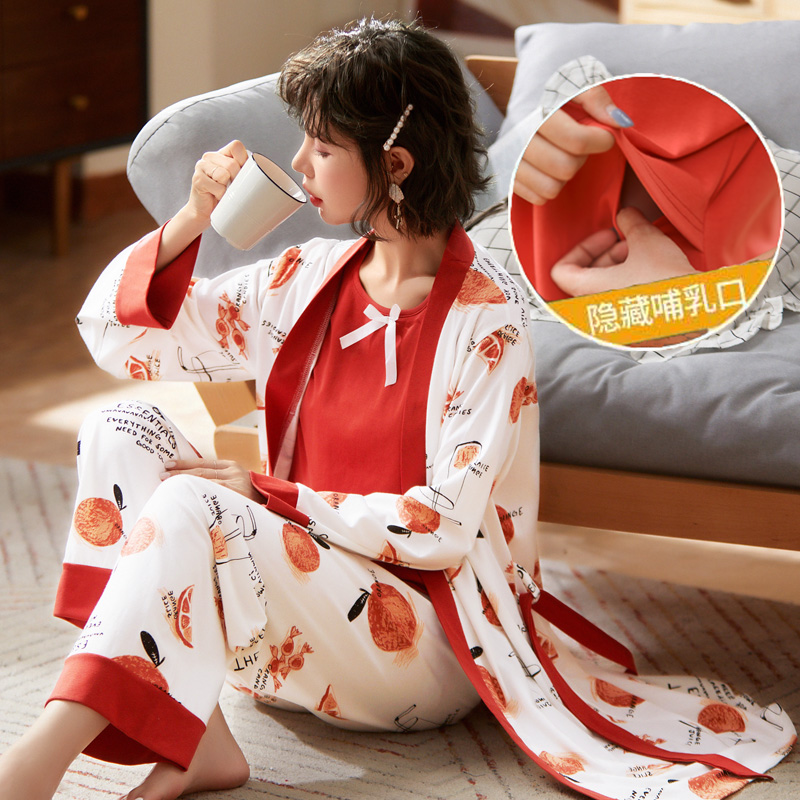 367# 3PCS/Set Printed Cotton Maternity Nursing Sleepwear Suits Feeding Nightwear Clothes for Pregnant Women Pregnancy Pajamas