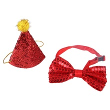 2pcs Dog Birthday Hat Decorative Shiny With Bowknot Cat Sequin Design Headwear Cap Hat Christmas Party Pets Accessories #1