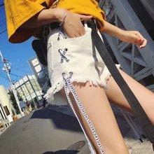 Białe czarne niebieskie spodnie jeansowe damskie lato 2020 wysokiej talii luźne pokaż cienkie koreańscy studenci mody słodkie szerokie nogawki najnowsze spodnie tanie tanio BHDD COTTON Szorty Osób w wieku 18-35 lat 301-18 Pani urząd Zmiękczania Wysoka Przycisk fly Lace up Spodnie pochodni