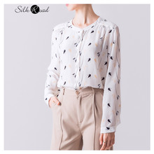 Silviye Round neck printed silk long sleeve shirt women's office straight tube westernized women tops blusas mujer de moda 2020