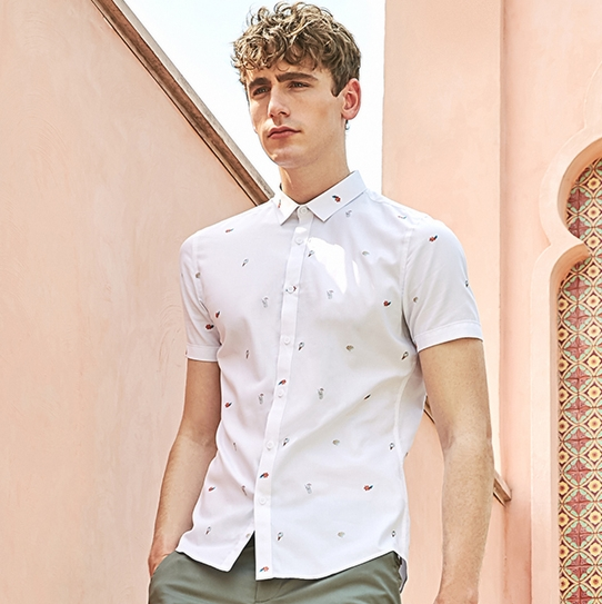 SELECTED Men's Cotton Embroidery Trendy New Cotton Slim Business Casual Short-Sleeve Shirt S | 419204508