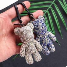 2019  Cartoon Crystal Bear Key chain Cute Handmade DIY Bomb Keychains Female Bag Car Pendant Accessories Keyring