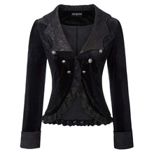 black Women Bat Collar Velvet Coat Long Sleeve Gothic Steampunk jacket autumn fa