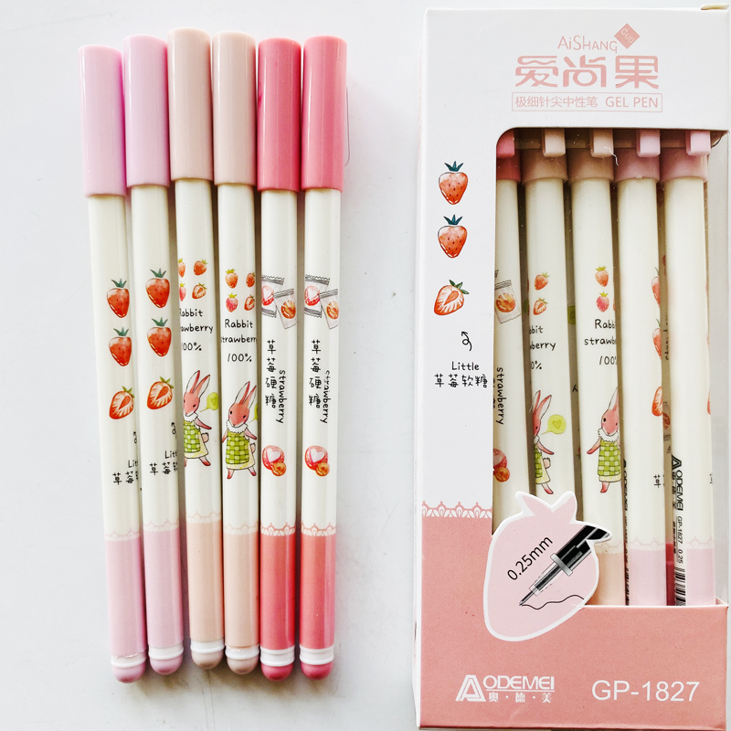 3X Cute Rabbit And Strawberry Gel <font><b>Pen</b></font> Writing Signing <font><b>Pen</b></font> School Office Supply Kids Gift Student Stationery <font><b>0.25mm</b></font> Black Ink image