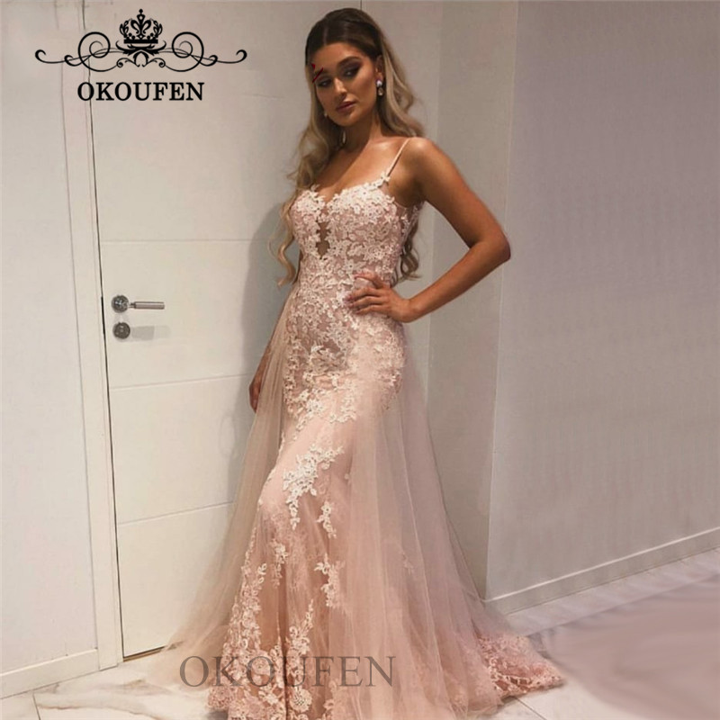 Detachable Skirt Mermaid Long   Prom     Dresses   Fashion Spaghetti Strap Sheer Lace Appliques Women Formal Evening   Dress   Gown