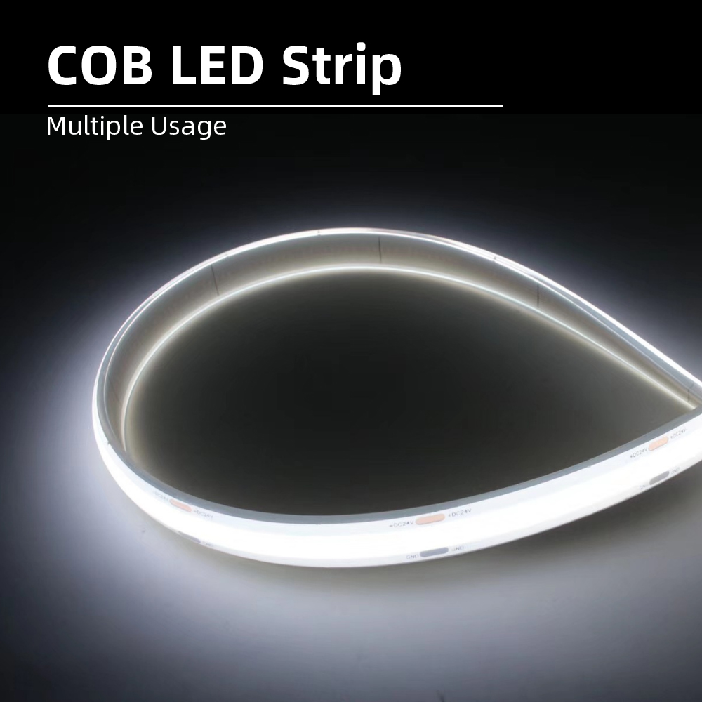 High Density COB/FOB Led Flexible Strip Light, Softable Strips Cuttable White Lighting For Outdoor Decor DC12/24V