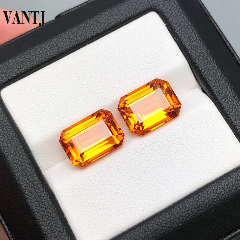 VANTJ Natural Citrine Loose Gemstone Oct Cut Women For Silver Gold Ring Mounting Diy Jewelry Women Party Gift