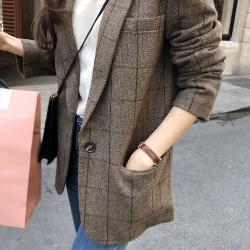 Women Autumn Winter Casual Wool Blazer Jacket Thick Padded British Plaid Suits Coat Vintage Loose Fit Office Lady Woolen Blazer