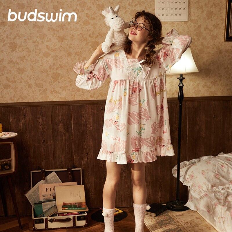 Women's   Nightgowns     Sleepshirts   Home Dress Nightdress cotton Sleepwear flamingo Sleep Lounge Vintage Female Lace Nightwear nighty